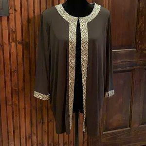 EUC Maggie Barnes 1X brown/leopard print jacket
